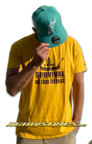 Survival of the Fittest Crown exclusive T-Shirt in Goldyellow Brown von Sol