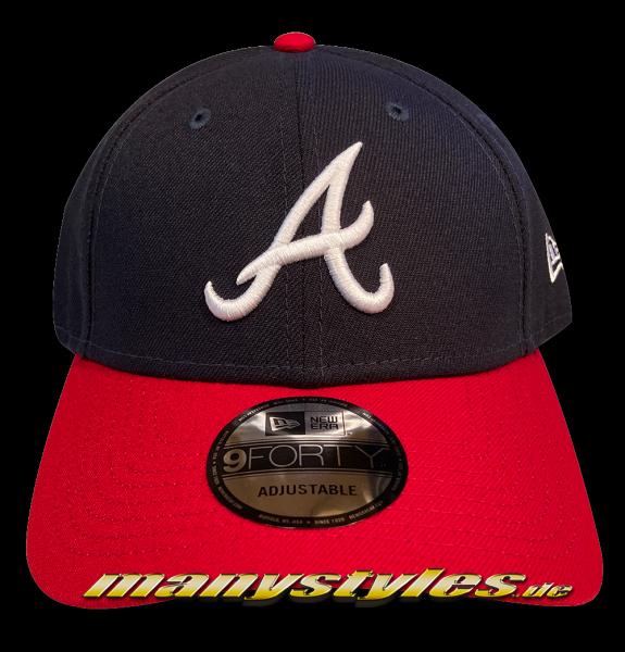 Atlanta Braves The League Essentials MLB Authentic Curved Visor 9FORTY Adjustable Cap von New era