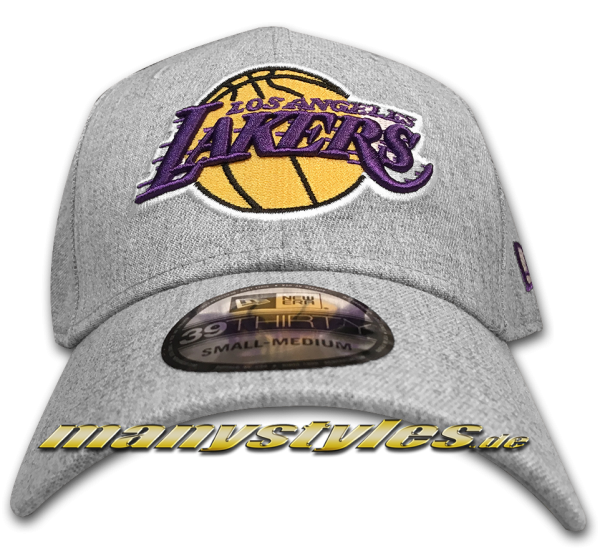 LA Lakers NBA 39THIRTY Curved Visor Cap Heather Base 3930 Heather Grey OTC von New Era