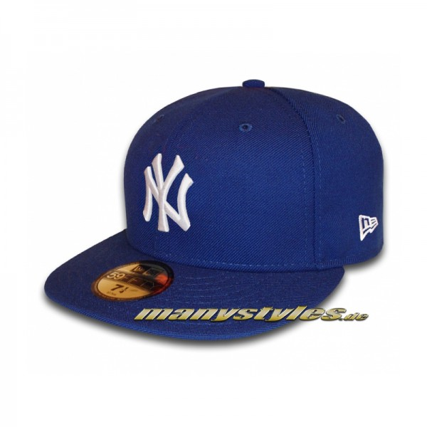 NY Yankees 59FIFTY MLB Basic Cap Royal White