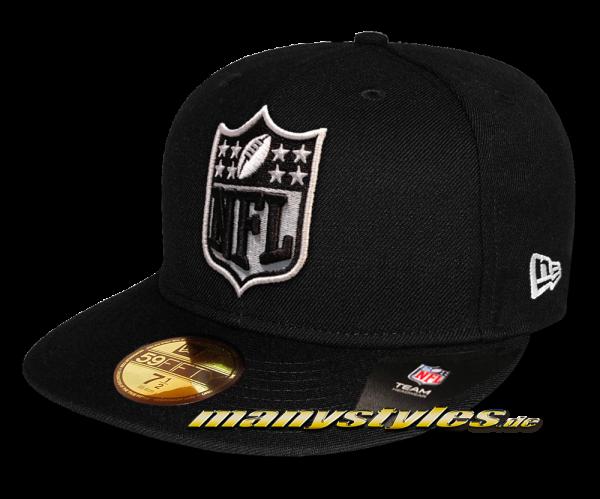 Oakland Raiders 59FIFTY NFL 5950 Shield Logo Front Cap Black OTC von New Era