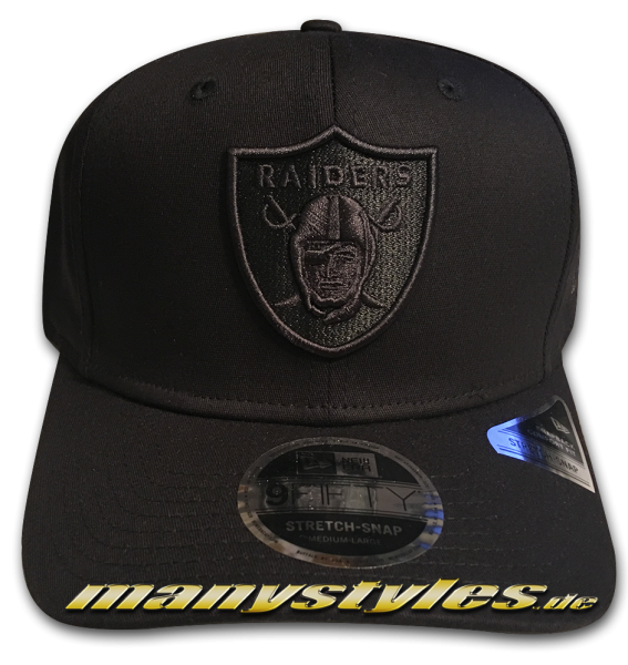 Oakland Raiders (Las Vegas Raiders) NFL 9FIFTY Tonal Black 950 SS Stretch Snapback Cap Black on Black von New Era