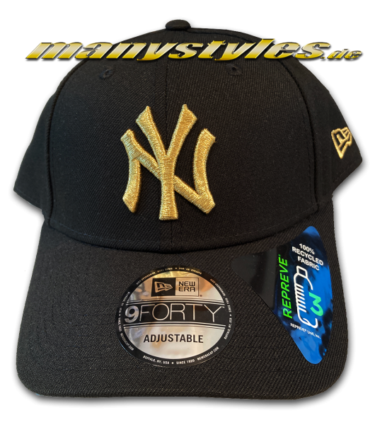 NY Yankees MLB 9FORTY Curved Visor Adjustable Black Gold Metellic von New Era