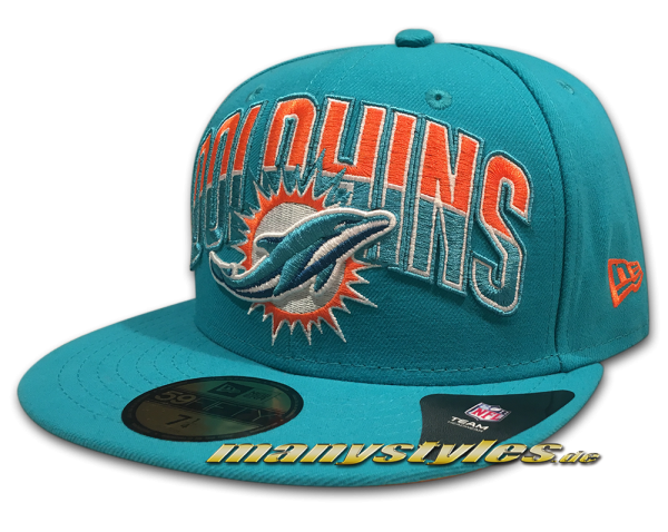 Miami Dolphins nfl onf on field draft 2013 59fifty new era cap otc original team color frontside
