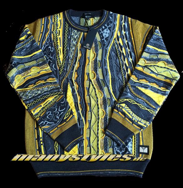 Carlo Colucci Sweater Strickpullover Mustard Black Multi