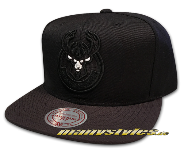 Milwaukee Bucks NBA Snapback Cap Full Dollar Black White von Mitchell and Ness