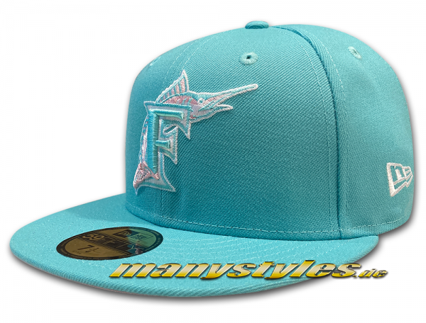 Florida Marlins MLB 59FIFTY manyStyles exclusive 18pce lmt Pastell exclusive in Miami Vice Mint Pink von New Era Front