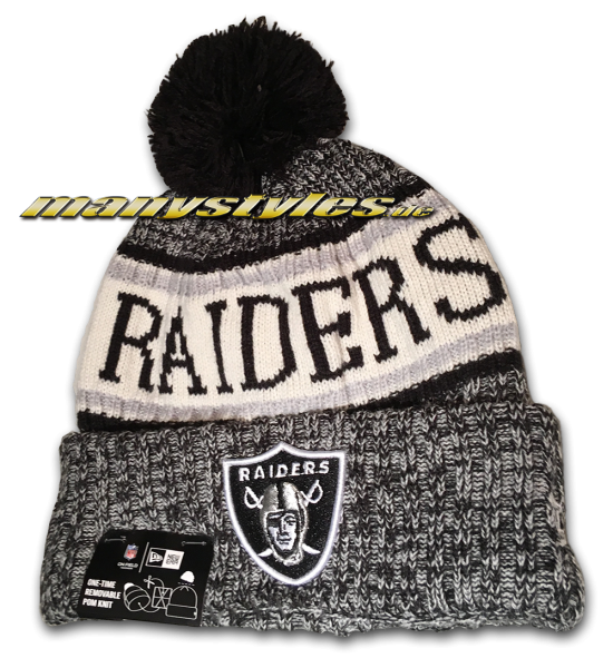 OaklandRaiders Las Vegas Raiders NFL Sideline 2018 Knit Bobble Beenie von New Era
