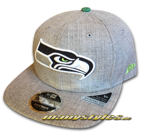 Seattle Seahawks 9FIFTY NFL Heathered Hype OF Original Fit Snapback Cap Original Official Team Color OTC von New Era