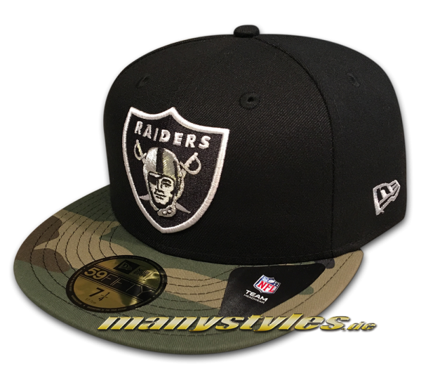 Oakland Raiders 59FIFTY NFL Contrast Camo Fitted Black Woodland Camouflage von New Era