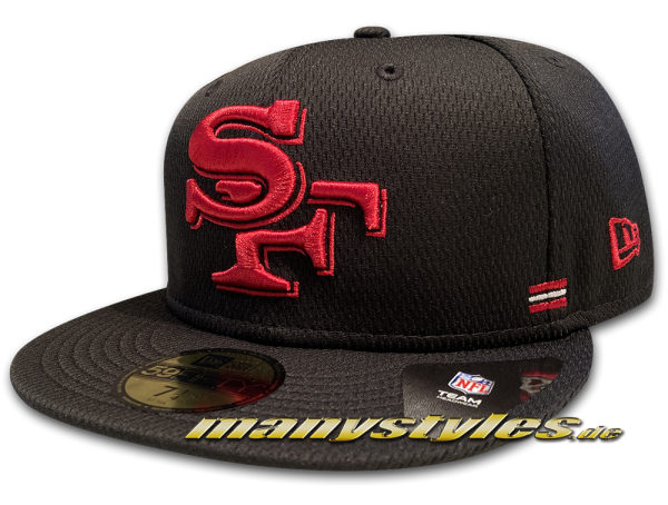 San Francisco 49ers 59FIFTY SL Home NFL Sideline 2020 Cap Black Red Team Color von New Era
