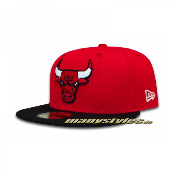Chicago Bulls 59FIFTY NBA Fitted Basic Cap Scarlet Red Black OTC von New Era