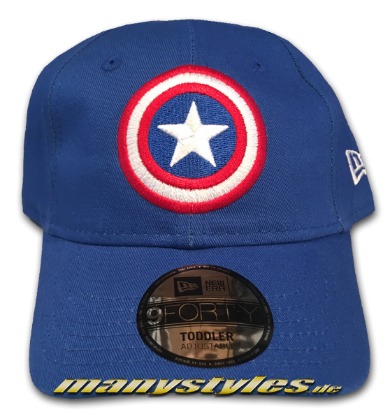 Marvel Comics Captain America Kids Character Cirved Visor Adjustable Cap Royal OTC von New Era