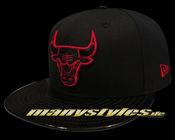 Chicago Bulls NBA 9FIFTY exclusive Snapback Cap Black Scarlet Red PU Leather Visor von New Era