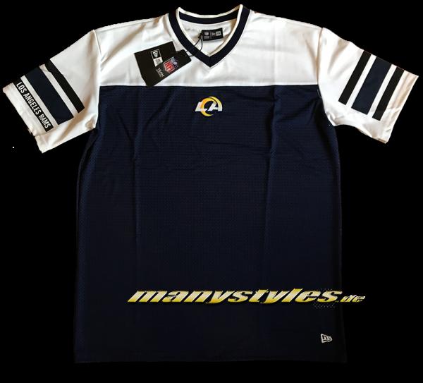 LA Rams NFL Stripe Sleeve Oversized Jersey Mesh Tee von New Era