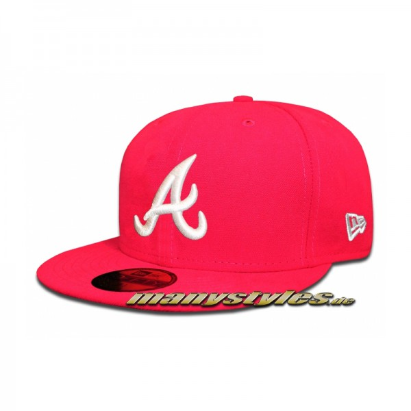 Atlanta Braves 59FIFTY MLB Basic Bright Rose White