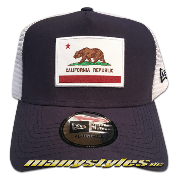 California Republic Cali Bear Trucker AF Adjustable Cap Navy White OTC von New Era