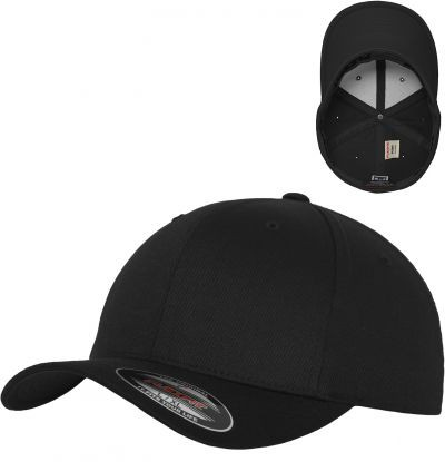 Blank Flex Fit Curved Visor Cap Black
