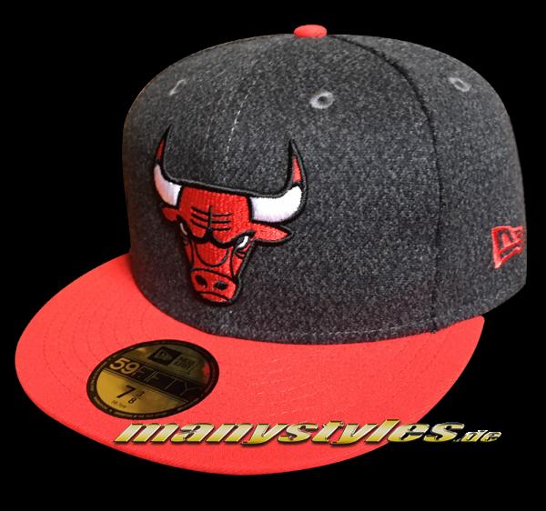 Chicago Bulls NBA 9FIFTY Fitted Cap Melton Crsp Heather Charcoal Dark Grey Black von New Era