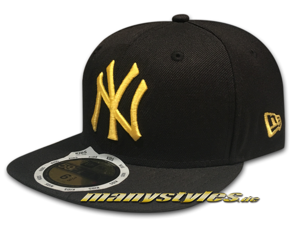 NY YANKEES New Era MLB Basic Cap in Black Yellow  59FIFTY von New Era