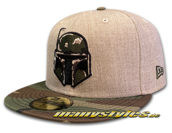 Star Wars Licensed Disney 59FIFTY Fitted The Mandalorian Boba Fett Exclusive Cap in Oatmeal Heather Woodland Camouflage von New Era