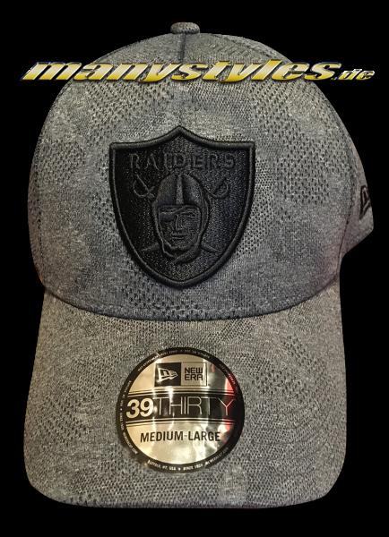 Oakland Raiders NFL 39THIRTY Curved Visor Cap Engineered Plus 3930 Heather Grey Black von New Era