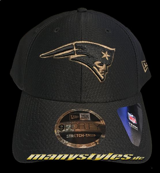 New England Patriots NFL 9FORTY Stretch Snap Curved Visor Snapback Cap Black Khaki Color von New Era