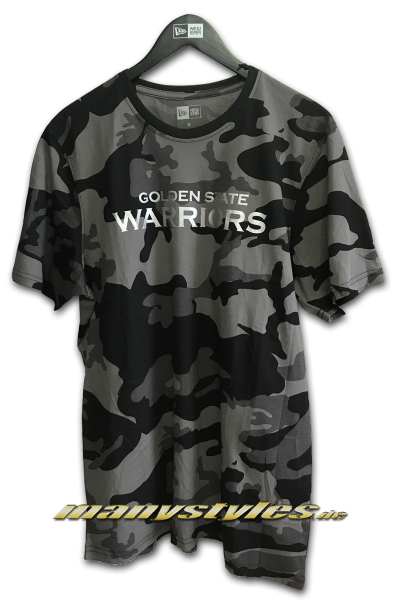 Golden State Warriors NBA Graphic Camo Tee Graphite Grey Black Camouflage von New Era Front