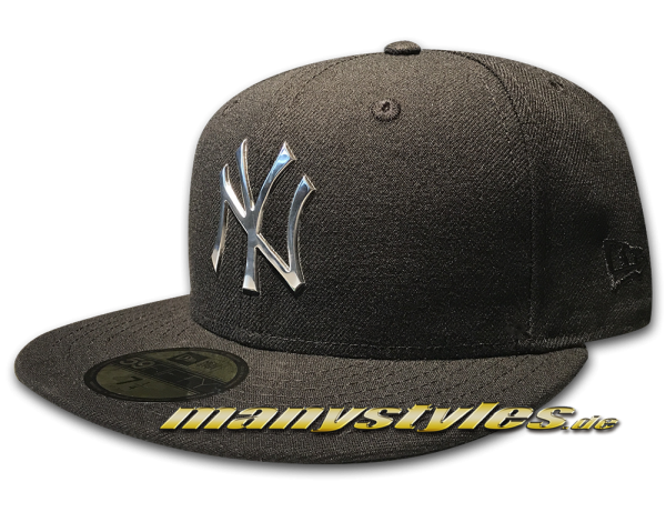 NY Yankees MLB 59FIFT NE Remix Liquid Logo Cap Black Metal von New Era