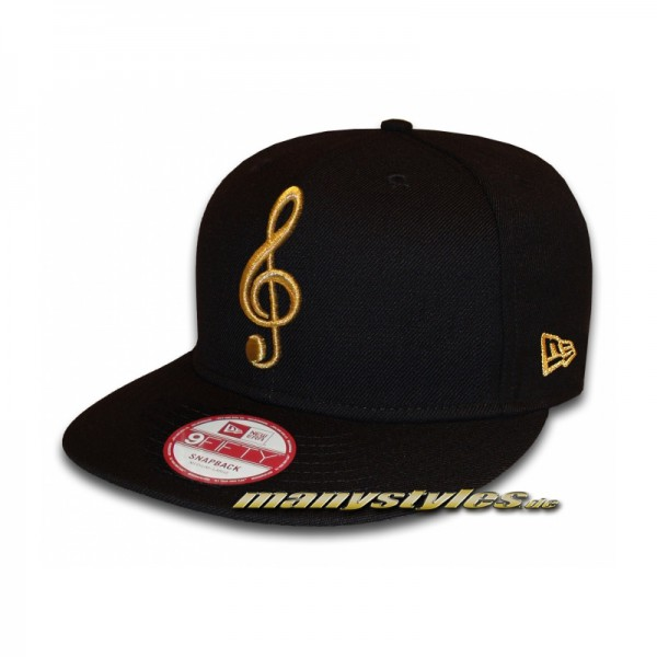 Unlicensed Music Note 9FIFTY Black Gold Metallic exclusive Snapback Cap
