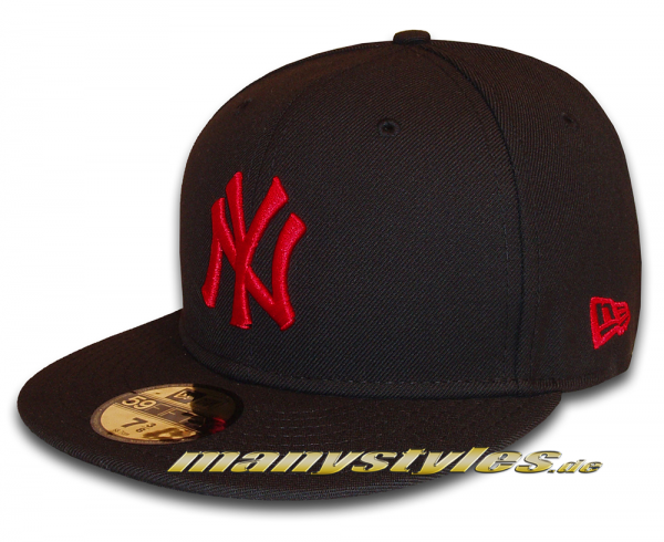NY Yankees MLB Basic 59FIFTY Fitted Cap Black Scarlet Red von New Era
