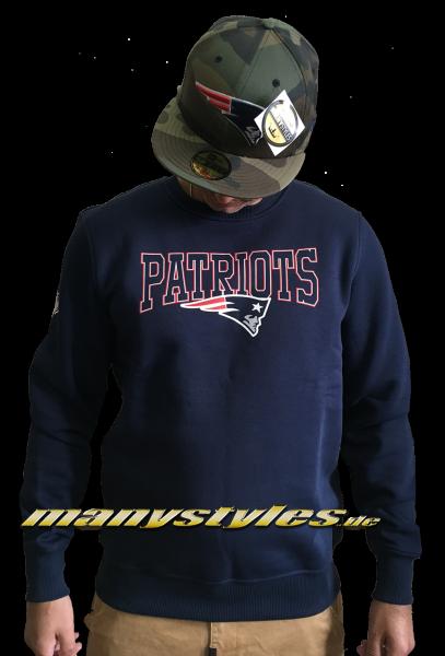 New England Patriots NFL Team Script Crewneck Sweater Navy Team Color von New Era