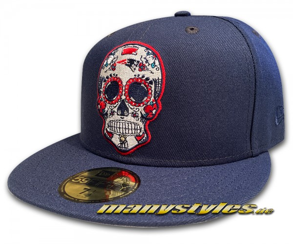 New England Patriots 59FIFTY Fitted NFL Dia de Los Muertos exclusive Cap in Navy Red White OTC von New Era