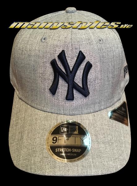 NY Yankees MLB 9FIFTY Heather Base Stretch Snapback Cap 950 SS Stretch Snapback Heather Grey Green OTC von New Era