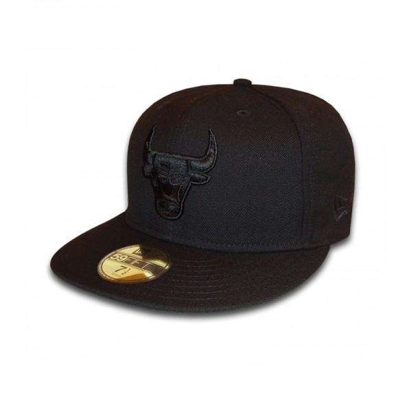 Chicago Bulls 59FIFTY NBA Cap Black on Black exclusive