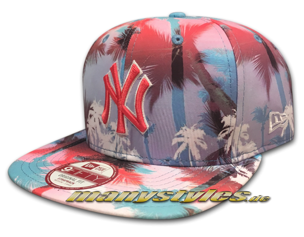 NY Yankees mlb new era 9fifty of original fit Strapback snapback cap miami vibe tropical new york caps multi palm-tr frontside