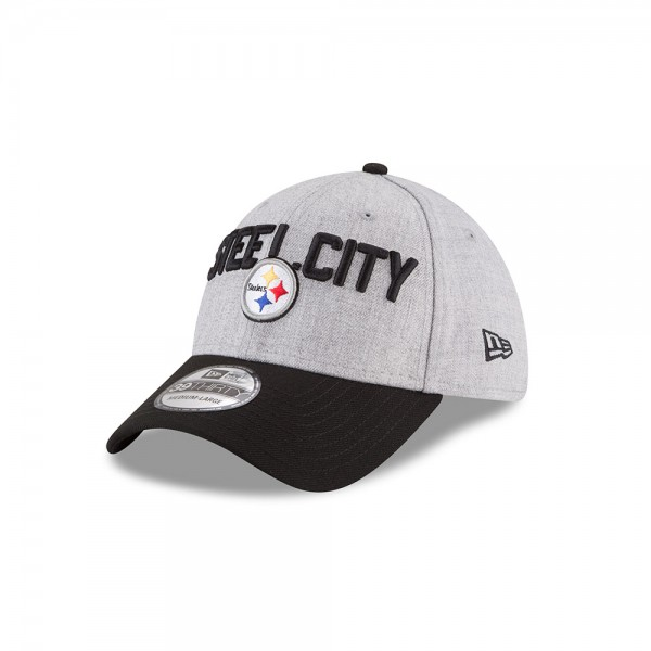 Pittsburgh Steelers NFL Steel City On Stage 39THIRTY Curved Visor Cap Heather Black von New Era