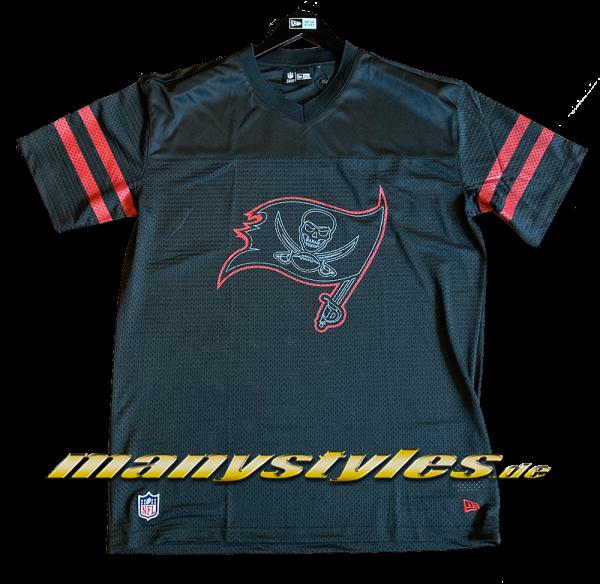 Tampa Bay Buccaneers NFL Outline Logo Oversized Jersey Tee Black Official Team Color von New Era