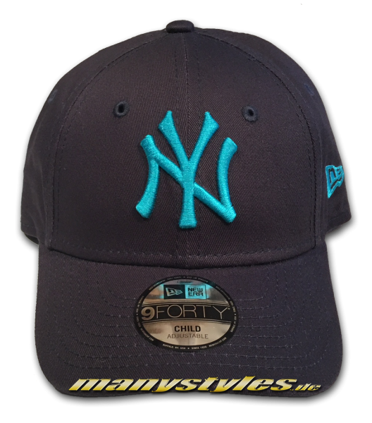 NY Yankees 9FORTY MLB League Essentials Curved Visor Adjustable Cap Black Vice Blue Kids von New Era