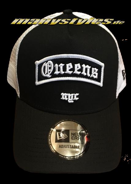 Queens NYC Borough AF Trucker Adjustable Curved Visor Snapback Cap Black White von New Era