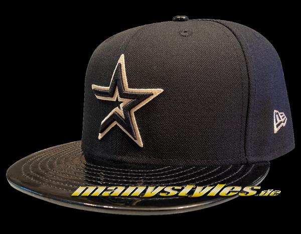 Houston Astros MLB 59FIFTY PU Visor Classic Logo Cap Black Khaki von New Era