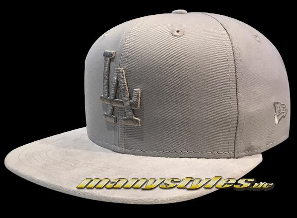 LA Dodgers MLB 9FIFTY OF Snapback Cap Tonal Suede Visor Grey von New Era Original Fit