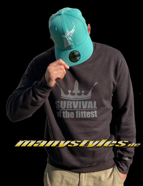 manystyles Survival of the Fittest Crown exclusive Crewneck Sweatshirt in Dark Charcoal 3M Reflective Print von Sol