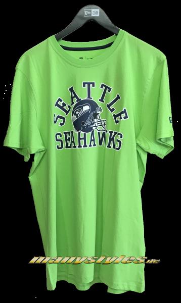Seattle Seahawks NFL College Tee T-Shirt Lime Green Navy OTC Team Color von New Era