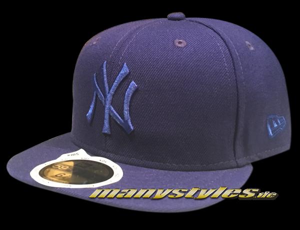 NY Yankees 59FIFTY MLB Basic Kids Cap Dark Royal Blue Royal Tonal von New Era