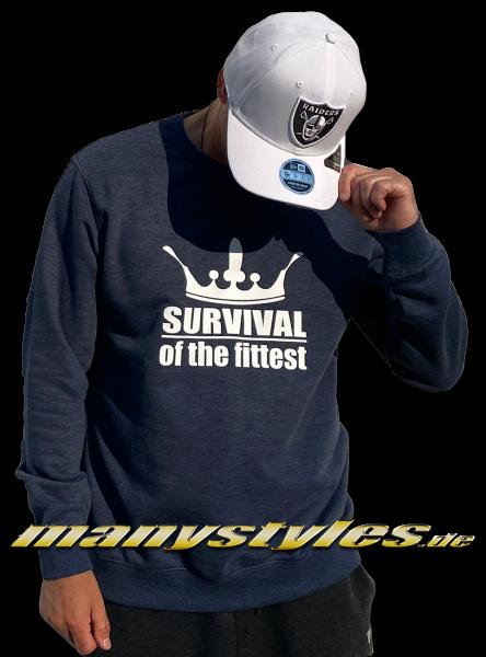 manystyles Survival of the Fittest Crown exclusive Crewneck Sweatsweater in Heather Denim Navy von Sol