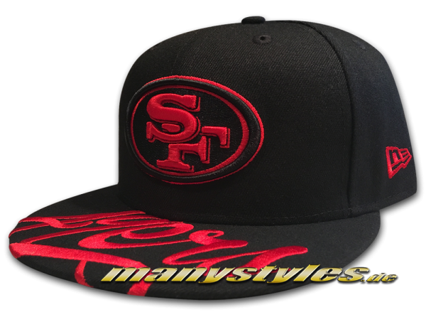 manystyles_de_new_era_san_francisco_49ers_nfl_5950_visor_script_59fifty_fitted_exclusive_cap_black_scarlet_red Front