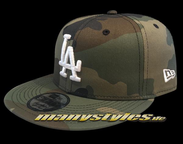 LA Dodgers MLB League Essential Woodland Camouflage White 9FIFTY Snapback Cap von New Era