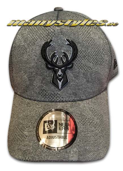 Milwaukee Bucks NBA 9FORTY Curved Visor Cap Engineered Plus 940 Heather Grey Black von New Era