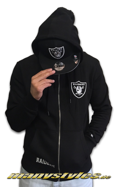 Oakland Raiders NFL Apparel Team Logo Full Zip Hoody Hooded Sweater Black White OTC von New Era
